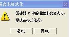 提示:磁盘未被格式化