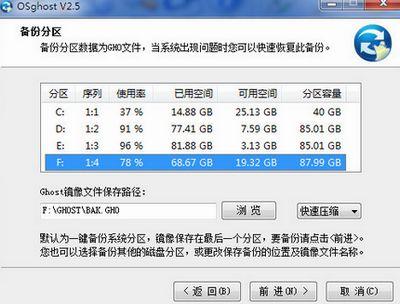 osGhost 软件进行备份