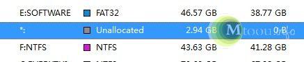 Unallocated,位于E盘跟F盘之间