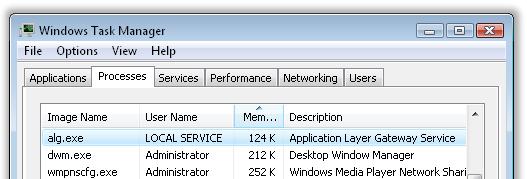 Windows Vista任务管理器中的alg.exe