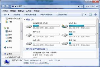 Windows资源管理器界面(Windows 7系统)