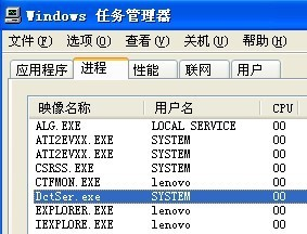 Windows XP系统下正在运行的DctSer.exe